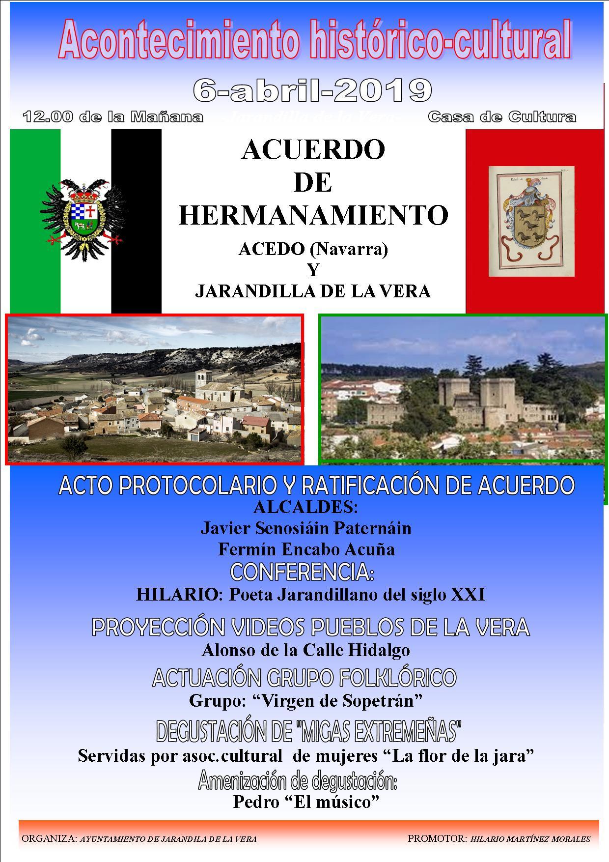 Acto de hermanamiento entre el pueblo navarro de Acedo y Jarandilla